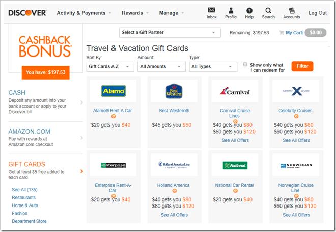 Discover 信用卡积分奖励兑换折扣礼品卡