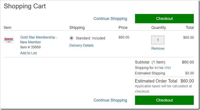 Costco.com 网上购买会员卡