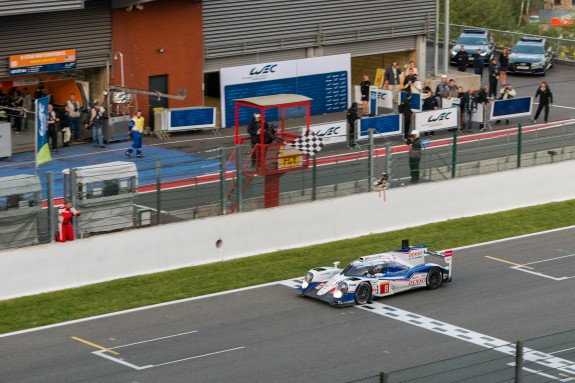 Finish winnende Toyota tijdens de WEC 6 hours of Spa-Francorchamps