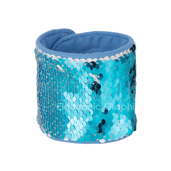 Sequin Bracelet (Light Blue W White)-1
