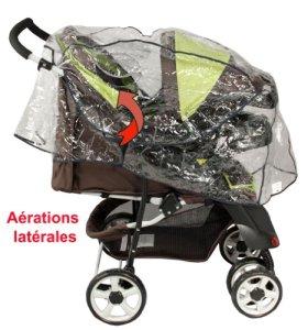 Habillage de pluie pour combiné poussettes avec canopy (poussette + siège auto, poussette + nacelle landau)
