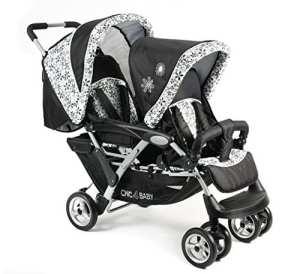CHIC 4 BABY 274 23 DUO Poussette pour 2 enfants avec sac de transport et habillage anti-pluie Motif fleurs Noir/bleu