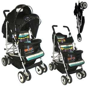 DUO Double buggy Twin 2 Tandem poussette poussette siège 2 unités, mensonge entièrement inclinable vers l'arrière pour nouveau-né, avant correction siège de 6 mois. Complète avec habillage pluie. Bande de Candy par Kids Kargo…