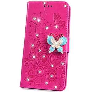 JAWSEU Samsung Galaxy J6 Plus Coque étui Cuir Paillettes,Glitter Bling Diamant Strass Une Fleur Papillon Portefeuille PU à Rabat Brillant Magnétique Stand Leather Wallet Flip Case,Rose Rouge