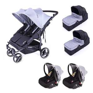 Poussette double Baby Monsters Easy Twin 3S – Chassis Noir + 2 nacelles + 2 sièges auto Luna Heather Grey 2018