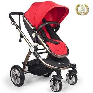 Poussette pliable Ibeis de luxe pour bébé – 2 en 1 – De 0 à 36 mois (Red)