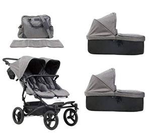 Mountain Buggy Duet Poussette V3 Luxury Collection double siège avec sac à langer + 2 coques bébé Carrycot Plus – herringbone (motif cheveux)