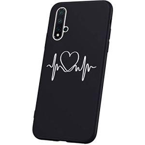 JAWSEU Compatible avec Huawei Nova 5 Coque Silicone TPU Gel Housse de Protection,3D Relief Personnalité Simple Motif Femme Homme Ulta Mince Noir Flexible Souple Bumper Case,l'amour