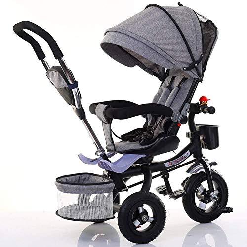 TZZ Léger bébé Tricycle, Pare-soleil réglable, avec 5 points ceinture de sécurité, l'absorption des chocs bébé Poussette vélo, for tout-petits garçons/filles, 7 mois – 6 ans (Couleur : Gris)