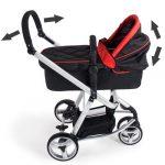 TecTake 3 en 1 Poussette Canne de Voyage Voiture d'Enfants Baby Confort Jogger – diverses couleurs au choix – (Rouge/Noir)