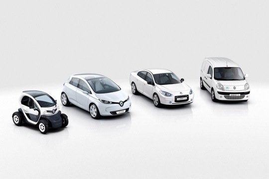 Dies sind die Elektroautos von Renault (von links nach rechts): Twizy, Zoe, Fluence Kangoo ZE. Bildquelle: Renault