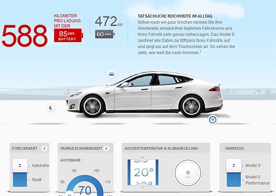 Reichweitenrechner für das Elektroauto Tesla Model S. Bildquelle: Screenshot von der Seite TeslaMotors.com