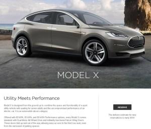 Elektroauto Tesla Model X. Bildquelle: Screenshot von TeslaMotors.com