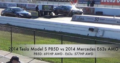 Tesla Model S P85D vs Mercedes-Benz E63 AMG. Bildquelle: Screenshot von Youtube, Youtubekanal: StreetCarDrags