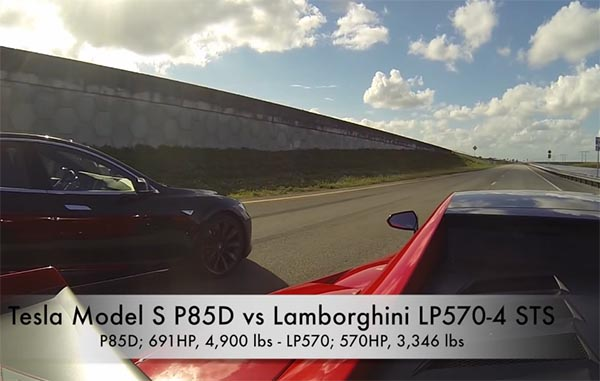 Elektroauto Tesla Model S P85D vs Lamborghini LP570-4. Bildquelle: Screenshot Youtube.com, User: DragTimes