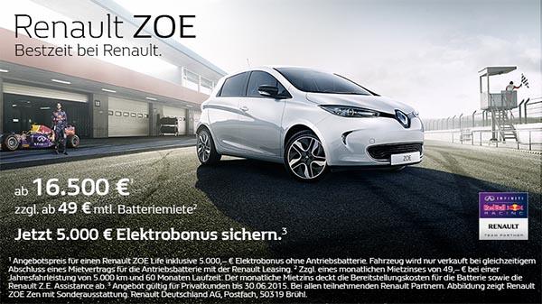 Das Elektroauto Renault Zoe Life kostet nur noch 16.500 Euro. Bildquelle: Renault