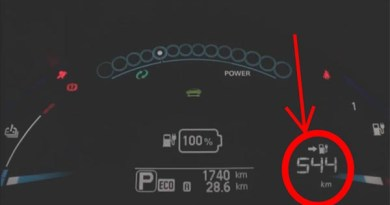 In dem Video wird anscheinend ein Prototyp einer zukünftigen Nissan Leaf-Generation gezeigt. Die Reichweite liegt laut Display bei 544 Kilometer. Bildquelle: Youtube.com/Nissan