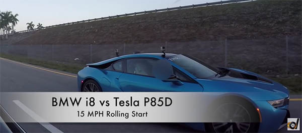 Elektroauto Tesla Model S P85D vs. Plug-In Hybridauto BMW i8. Bildquelle: DragTimes/Youtube.com