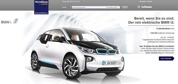 Das Elektroauto BMW i3 kann man nun auch mit den Meilen aus dem Miles and More Programms bezahlen. Bildquelle: Screenshot von https://www.worldshop.eu/page/BMW-i3