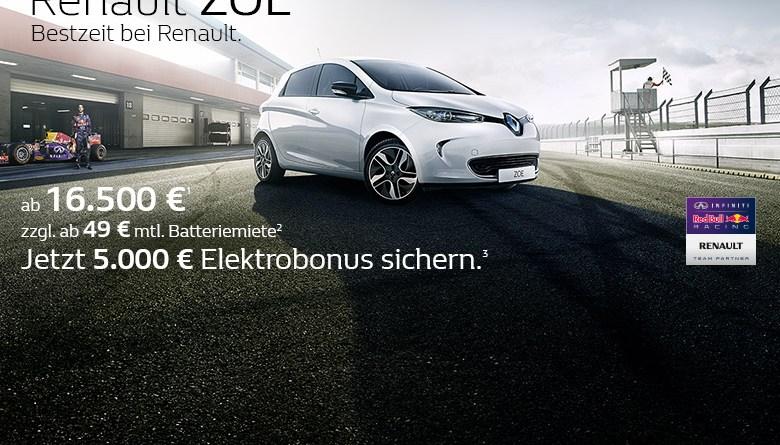 Der Elektrobonus in Höhe von 5.000 Euro wird nun bis zum 31.12.2015 für das Elektroauto Renault Zoe gewährt. Bildquelle: Renault
