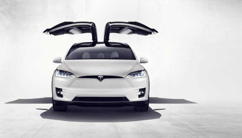 Das Elektroauto Tesla Model X verfügt über Flügeltüren. Bidlquelle: Tesla Motors