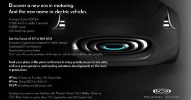 Auf der Einladung von Thunder Power kann man das Elektroauto in etwa erahnen, ob es wirklich so aussehen wird, wird sich noch zeigen. Bildquelle: Thunder Power