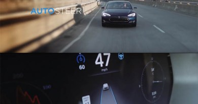 Symbolbild. Der Autopilot des Elektroauto Model S kann selbstständig die Spur halten, wörtlich übersetzt heißt Autosteer Auto(matik)lenkung. Bildquelle: Tesla Motors / Youtube.com