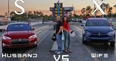 Elektroauto Tesla Model X vs Elektroauto Tesla Model S P90D. Bildquelle: http://www.dragtimes.com/