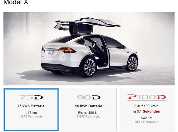 Die 60kWh Batterie für das Elektroauto Tesla Model X wurde gestrichen. Bildquelle: Tesla Motors