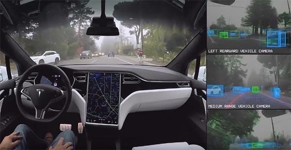 Dieses Video von Tesla zeigt, wie der Autopilot in den Elektroautos arbeitet. Bildquelle: Screenshot von Tesla Motors / Vimeo