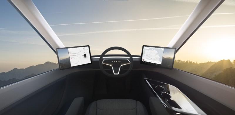 Cockpit des Elektro-LKW Tesla Semi. Bildquelle: Tesla
