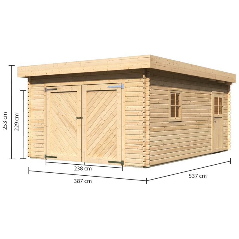karibu massivholz garage mit flachdach