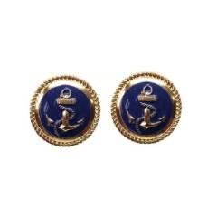 Maritimer Ohrclip blau gold