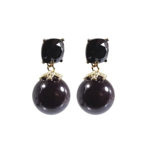 Ohrhänger schwarz mit Perle und Swarovski Steinen