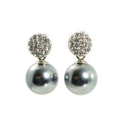 Ohrring mit Kristallkugel und Perle grau