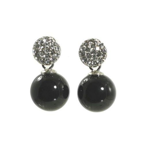Ohrring mit Kristallkugel und Perle schwarz
