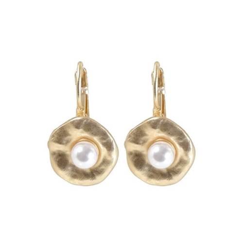 Brisur Ohrring mattgold mit Perle