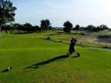 Abschlag Maspalomas Golf, am Rande der Dünen