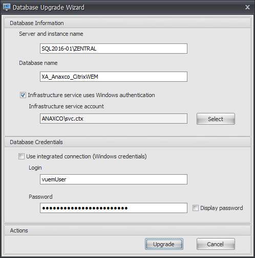 Database Upgrade Wizard