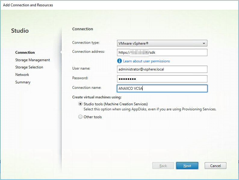 Citrix Studio Hosting Connection