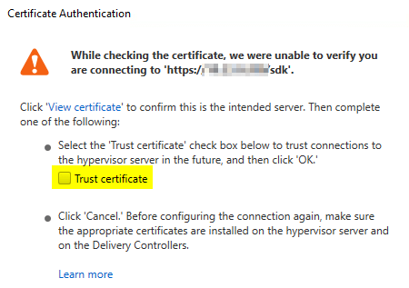 Trust the self-signed certificate