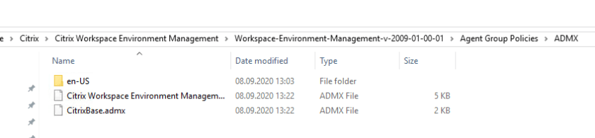 ADMX files