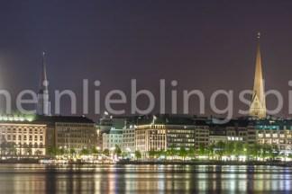 Panorama Binnenalster Hamburg bei Nacht Acryl, Alu Dibond, Leinwand, Poster