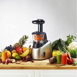 Licuadora de prensado en frío Moulinex Infiny Juice ZU255B rodeada de frutas y verduras