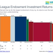 Bar mekko chart of 10 year returns and assets under management for Ivy League endowments