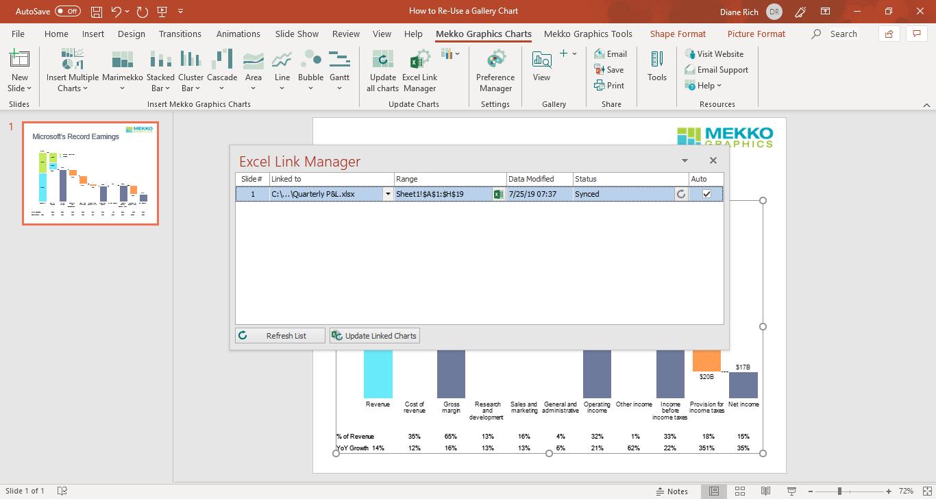 Automatically Update Linked Chart