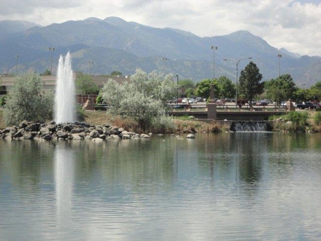 Architectural concrete bridge, concrete fountain, and concrete waterfall