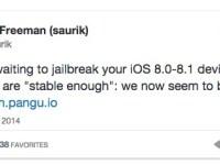 Il jailbreak di iOS 8.1 Pangu è ora abbastanza stabile