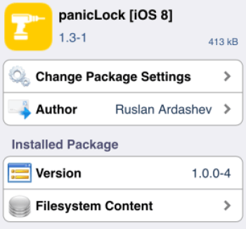 panicLock tweak cydia blocco applicazioni
