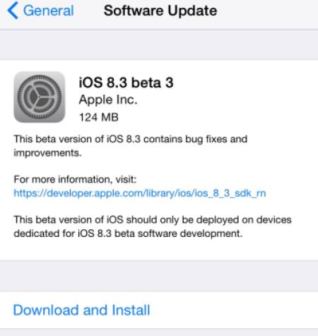 iOS 8.3 beta 3